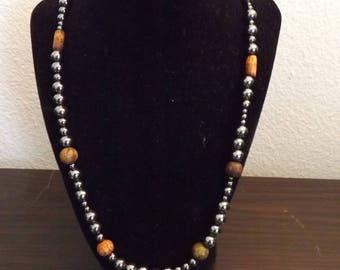 Hematite Pearl Necklace
