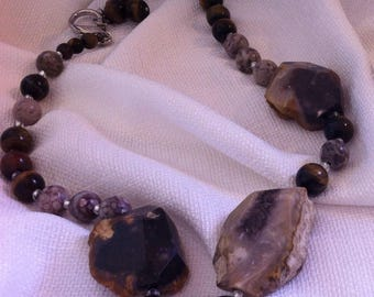 Handmade Agate & Tiger Eye Necklace