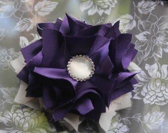 Purple & Beige Fabric Flower Accessory