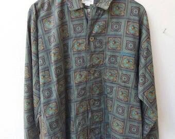 RARE Vintage 1990's Burberry's Plaid Cotton Mens Shirt size Large