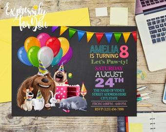 Secret Life of Pets Birthday Invitation, Secret Life of Pets Birthday, chalkboard birthday invitation