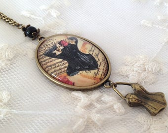 Corset black cameo necklace.