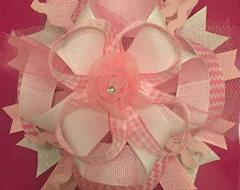 Pink and White Over The Top (OTT) Hair Bow