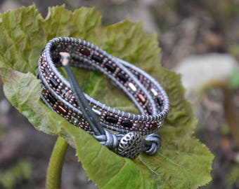 Glass and Leather Wrap Bracelet