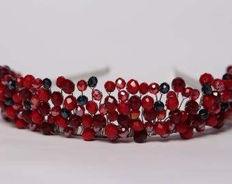 Red crown Bridal crown Wedding Diadem Bridal tiara Headband Crystal tiara Womens gift Crystal headpiece Tiara Red diadem