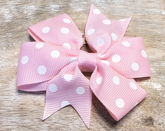 Light Pink and White Polka Dot Grosgrain Ribbon Bow, Alligator Clip, Barrette, 3 inches wide, Hairbow, Girls
