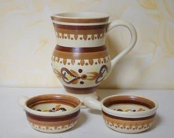 2 bowls + 1 pot pitcher Pipkins water HB QUIMPER vintage 1960 pattern 307