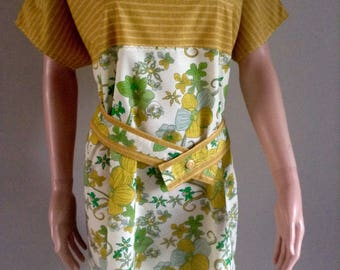 Dress summer floral cottons and mustard green foliage 38/40/42/44/4648