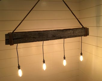 "56"" Industrial Reclaimed Barn Beam Lighting"