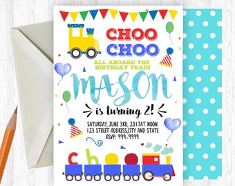 Choo Choo Train Birthday Invitation, Choo Choo Train Invitation, Choo Choo Train, birthday invite, Birthday Party,  Printable Invitation