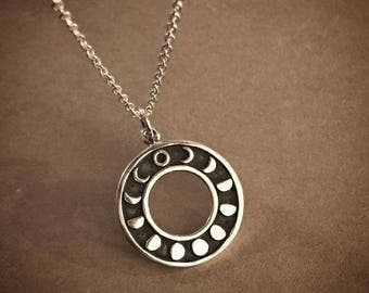 Moon Cycles Necklace - Sterling Silver