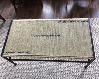 Wrought iron table with woven Organic Jute & Silk