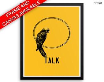 Parrot Printed  Poster Talk Framed Parrot Bedroom Art Talk Bedroom Print Parrot Canvas Talk animal