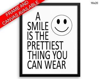 Smiley Prints  Smile Canvas Wall Art Smiley Framed Print Smile Wall Art Canvas Smiley Dentist Art Smile Dentist Print Smiley Black And White