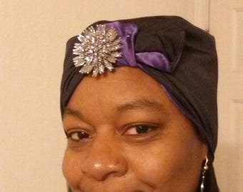 Purple & black reversible turban