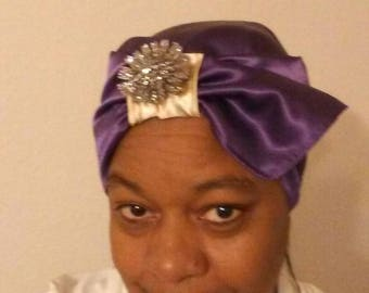 Purple & gold reversible turban