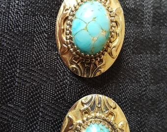 Vintage Whiting and Davis Turquoise Clip On Earrings