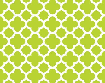 Lime Green Quatrefoil  Cotton Fabric - Riley Blake Fabrics - Perfect for Quilting, Nursery, Kids Clothing - 1/2 yard