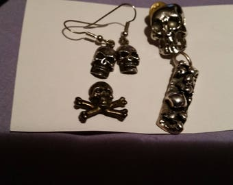 Vintage skull pins, earrings and sterling silver pendant