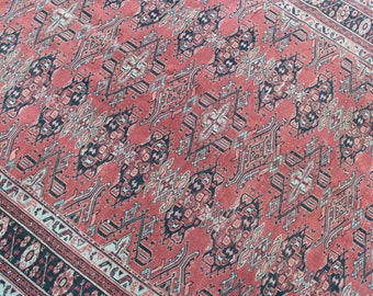 "Persian Rug, Vintage Handmade Persian Area Rug,  Wool Home Decor Area Rug Carpet, Vintage Decorative Wool Red Persian Area Rug, 92""x63"""