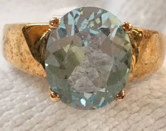 Vintage HSN Sterling Silver Blue TOPAZ Vermeil RING Gold Overlay New Old Stock 1990s