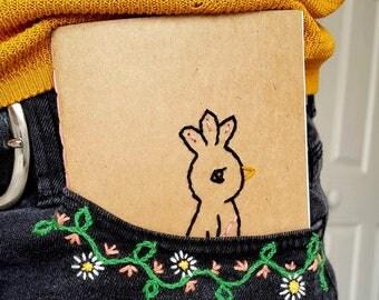 Handmade Notebook, Embroidered Bird Pocket Notebook