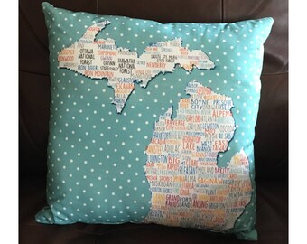 State of Michigan Pillow With Cities in Aqua