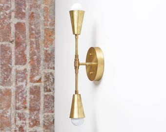 Brass Sconce Light - Wall Sconce - Modern Sconces - Gold Wall Light - Mid-Century Modern Sconce