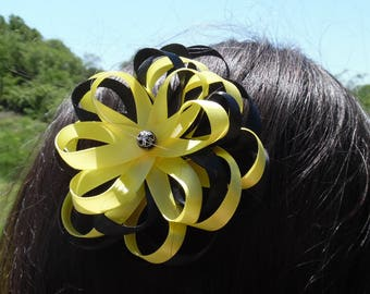 Black and Yellow Hair Bow