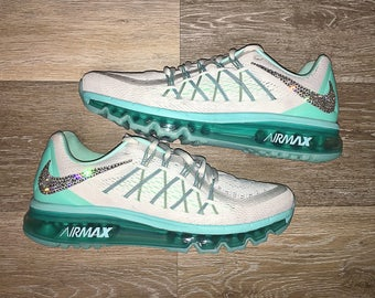 crystal Nike Air Max 2015 Bling Shoes with Swarovski Elements Women's Running Shoes Hyper Turquoise