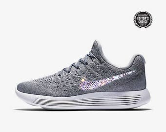 crystal Nike Lunarepic Low Flyknit 2 Bling Shoes with Swarovski Crystals Women's Running Shoes Cool Gray