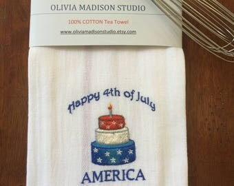 Tea Towel, Kitchen Towel, French kitchen Towel, Dish Cloths, Dish Towels, Patriotic, July 4th