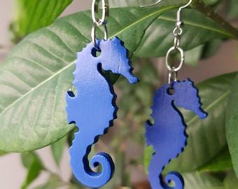 Wood seahorse earrings