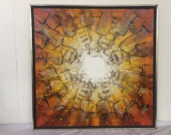 Mid Century Abrstract Painting Orange, Yellow and White Starburst