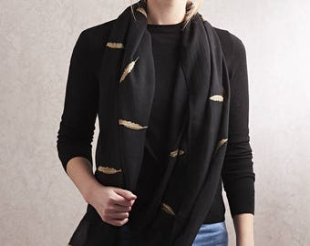 Personalised Black And Gold Feather Print Scarf