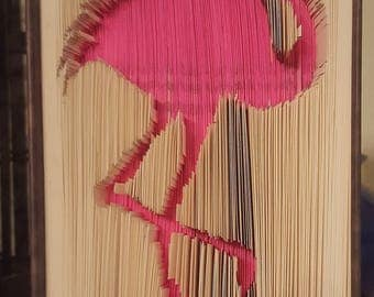 Folded Book Art - Pink Flamingo