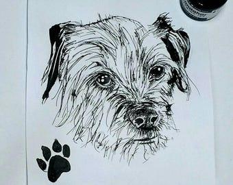 Custom ink pet portrait, A5 or A4