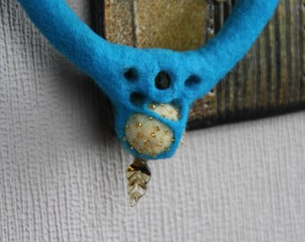 felted blue necklace with beads