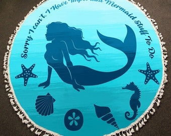 Round Beach Towels - Beach Vacation Must Have / Mermaid/ Beach Towels/ Terry Towels/ Cotton Towels/ Round Towels/ Cotton