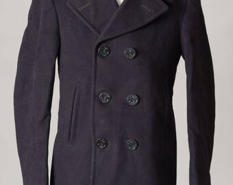 Vintage 1950's USN US Navy Peacoat Military Navy 100% Wool