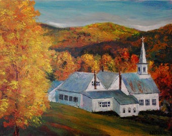 """Nature's Autumn Colors Fine Art Wall Art Bright Golds and Reds, """"New England Church"""" by Ken"""