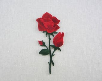 Red Rose Patch, Iron On Flower Patches Love Series