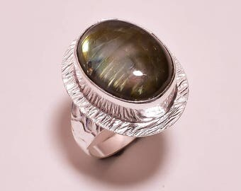 Labradorite gemstone plated silver ring 7.75