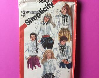 Vintage Pattern - Simplicity 5670 Misses' Set of Tuxedo Blouses