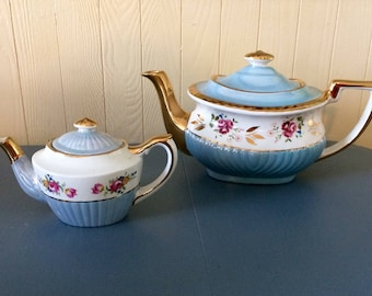 Pair of Georgian Gibson Teapots Blue Lusterware from Staffordshire England