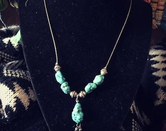 Chunky turquoise stone necklace