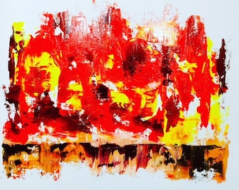 CONTEMPORARY ART Red and Yellow Abstract Painting Original art oil modern art modern canvas art fine art online gallery