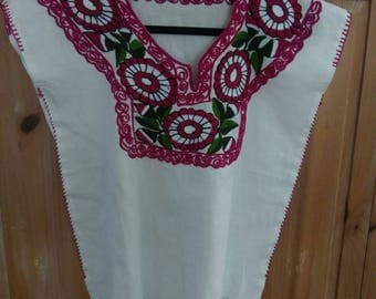 Oaxaca Huipil Blouse Hand Embroidered