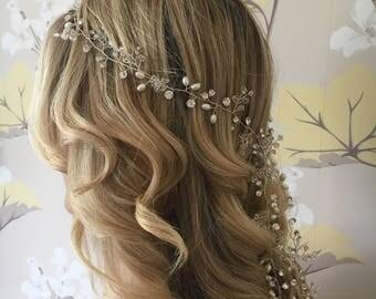 Vintage bohemian style rhinestone crystal pearl long bridal hair vine, silver wedding hair accessory