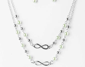 NEW Double Layers Green Beaded Infinity Necklace